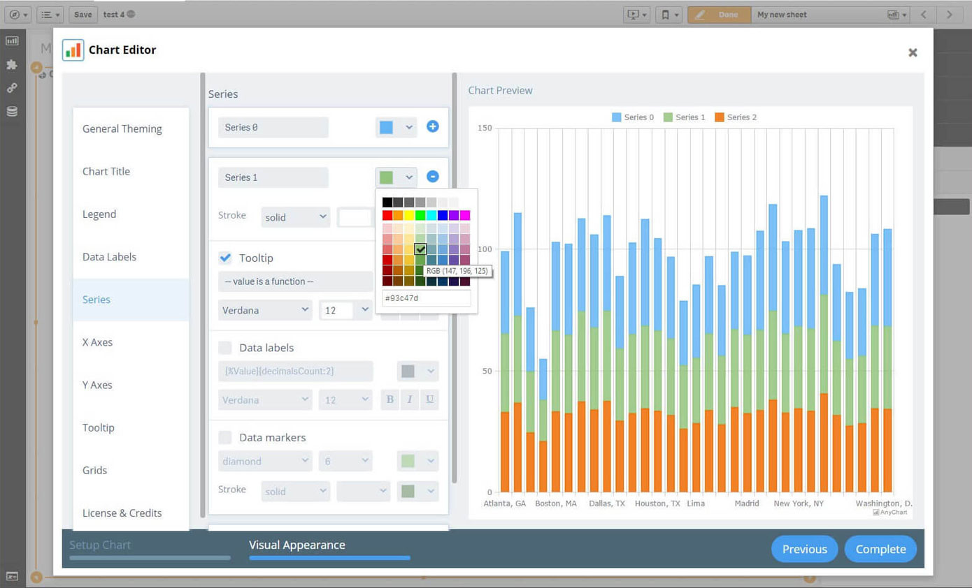 Chart Editor step Visual Appearance | AnyChart Qlik Extension