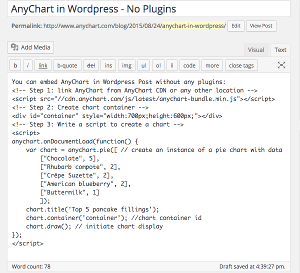anychart in wordpress - no plugins - source