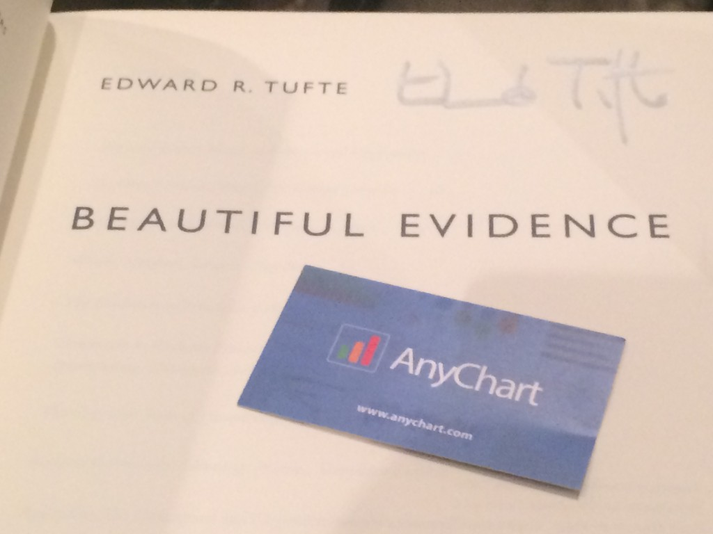 Edward Tufte's 'Beautiful Evidence' Signed by author and AnyChart Card