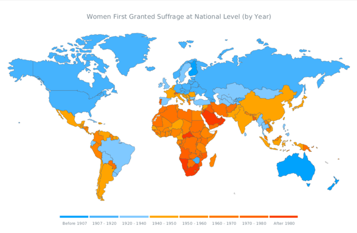 JavaScript Map by AnyChart - World Women Suffrage