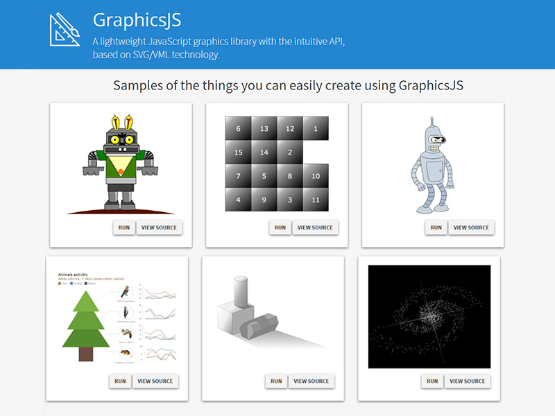 GraphicsJS: free open-source draw-anything JS library for interactive graphics.