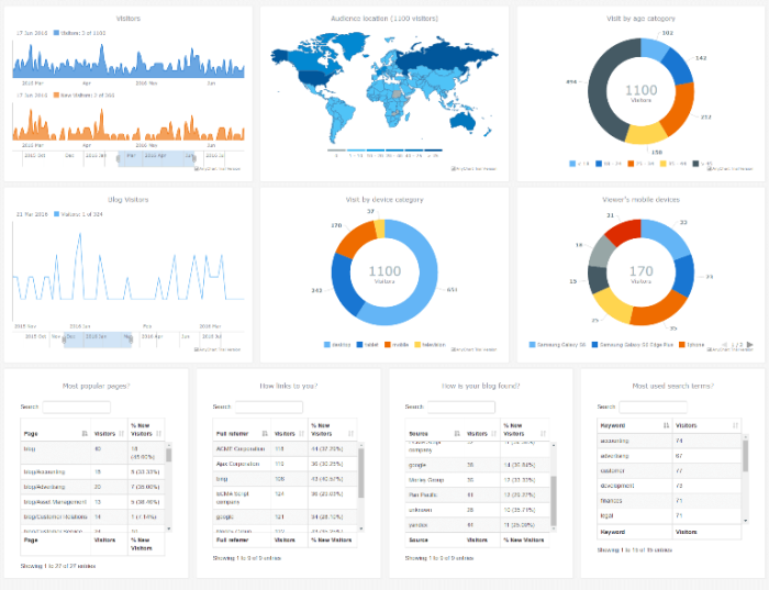 Interactive HTML5 Web Analytics Dashboard Powered by AnyChart JS Charts