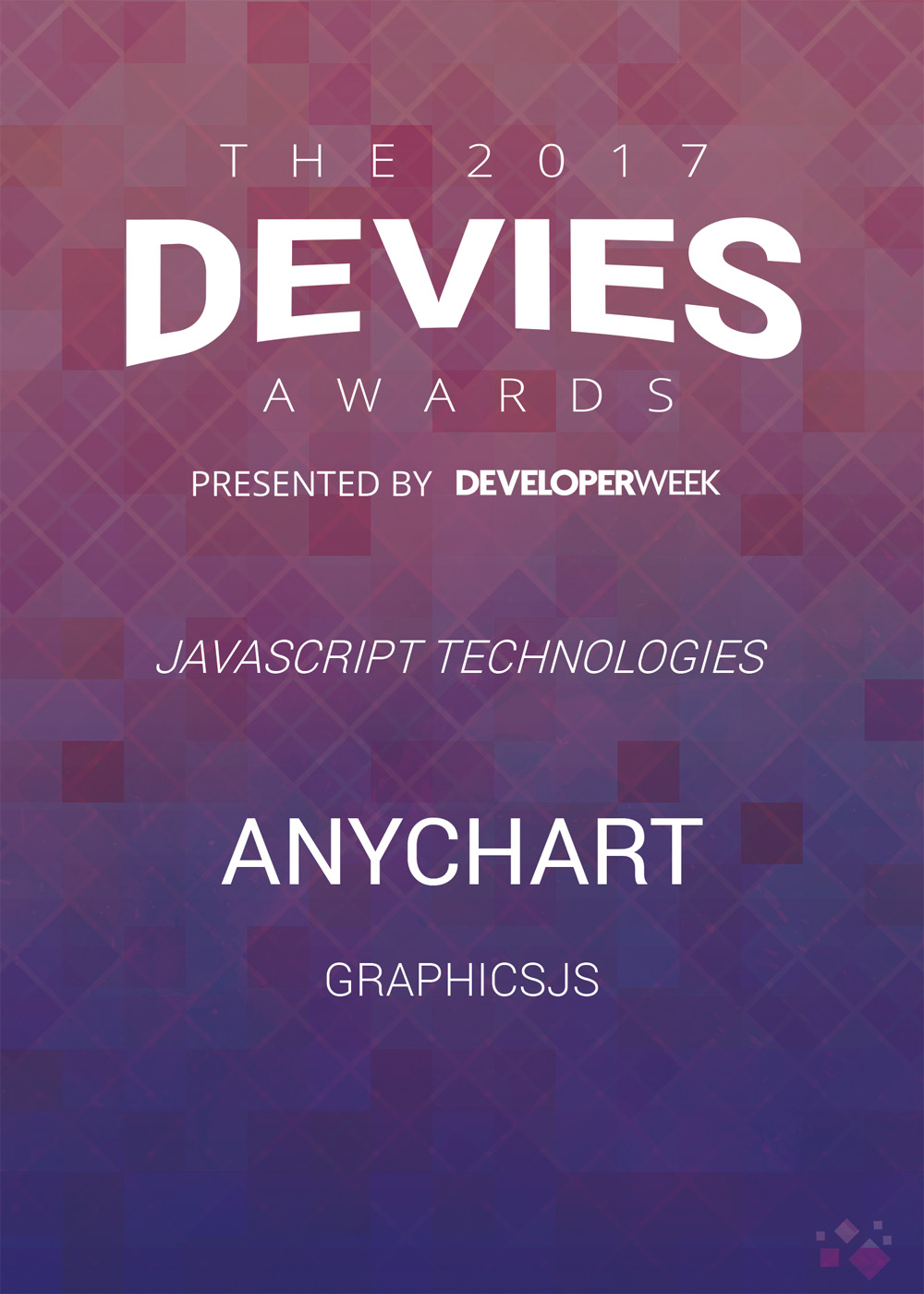 AnyChart is the winner of the Devies Awards in the JavaScript Technologies category with its powerful lightweight open-source graphics library GraphicsJS
