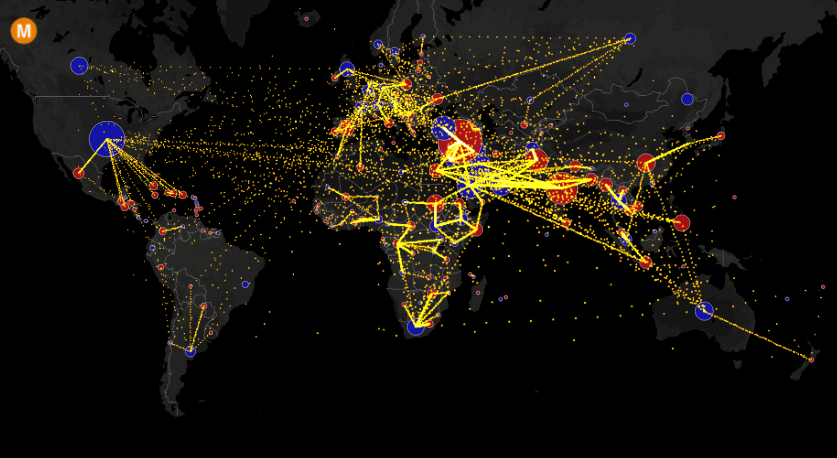 Interactive Animated World Migration Map DataViz by Metrocosm