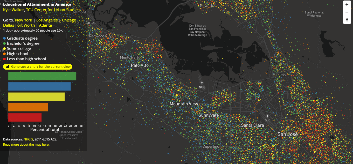 U.S. Educational Attainment Data Mapped, In Interactive Data Visualization Examples