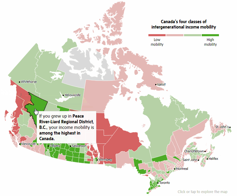 Visualizing Good Data About Canadian's Income Mobility on Interactive Map