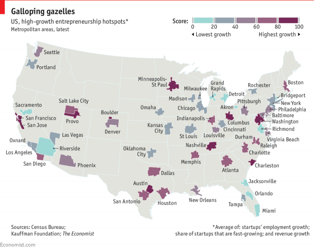 Map of High-Growth Entrepreneurship Hotspots in United States
