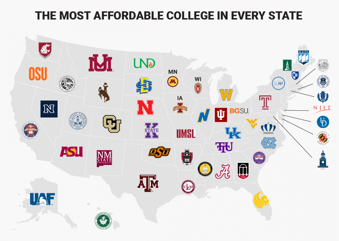 map of most affordable highly ranked colleges in every state of united states