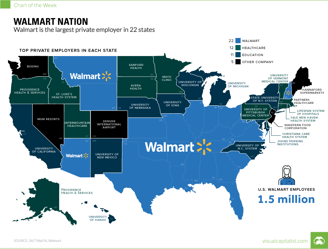 Map of the Largest Employers in Every State of the US
