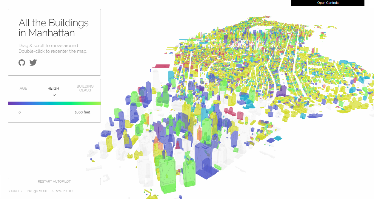 Interactive Map Showing All Manhattan Buildings in 3D