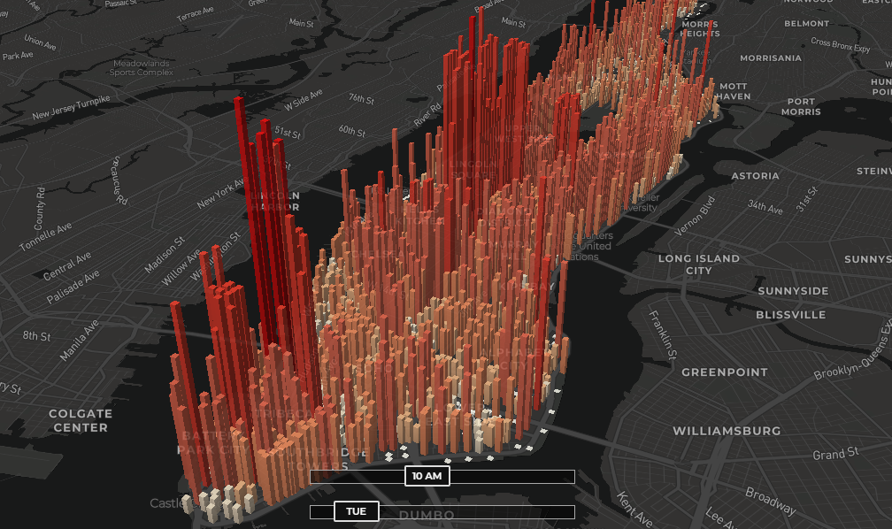 Distribution of Manhattan's Population During Any Hour Of Week