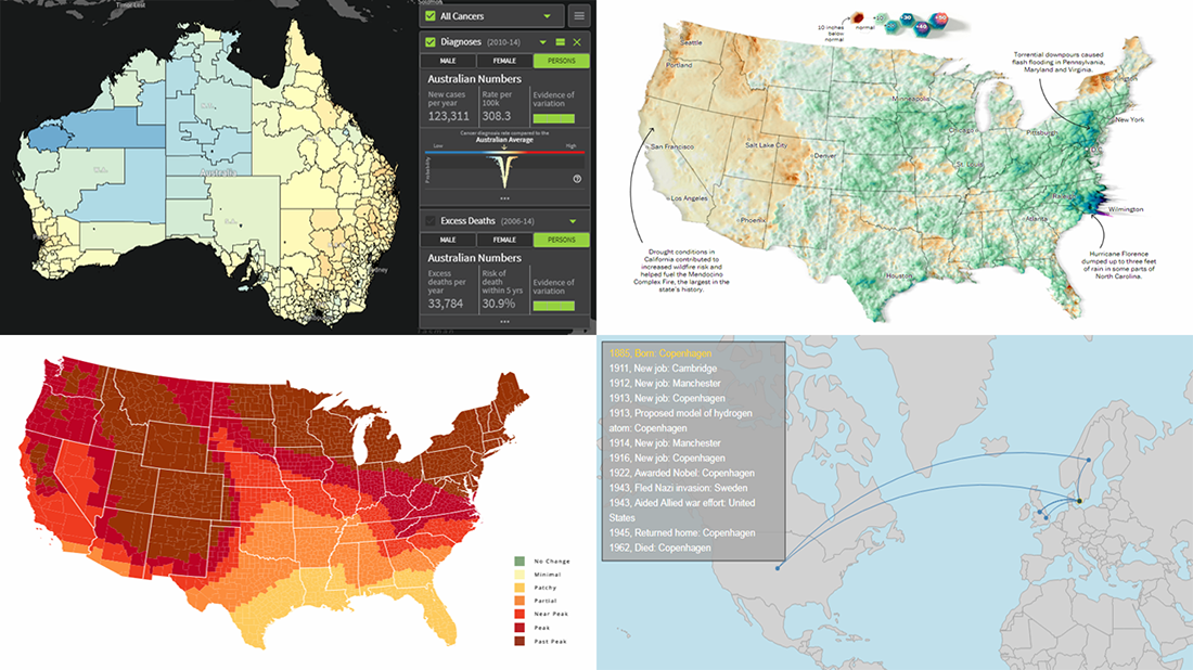 Mapping Data About Cancer, Nobel Physicists, Rain, and Fall Foliage — DataViz Weekly