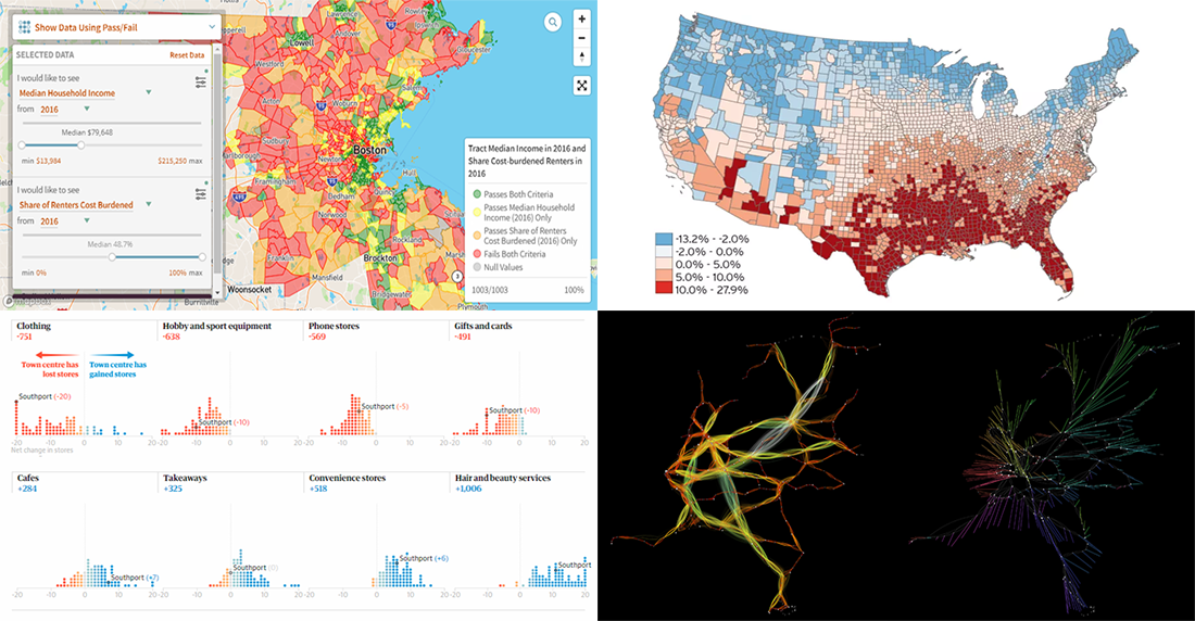 DataViz Weekly presents new data analytics and visualization examples from around the web, on high street, neighborhoods, trains, and climate