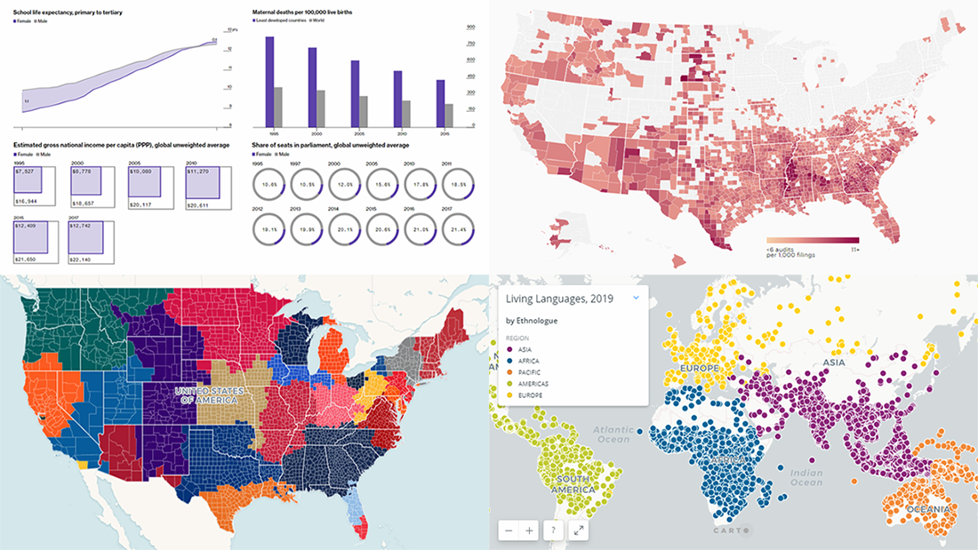 Data Charts for Visual Analysis of Languages, MLB Fandom, Gender Gap, and IRS Audit Rates — DataViz Weekly