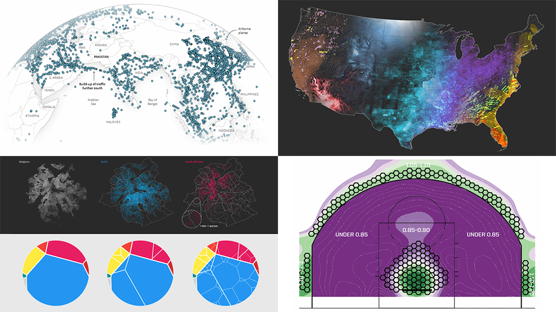 Plotting NBA Shots, Diversity, Disasters, Air Traffic — DataViz Weekly