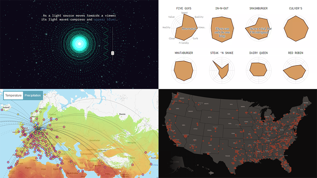 Top Data Visualizations on Travel, Burgers, Shootings, and Light — DataViz Weekly