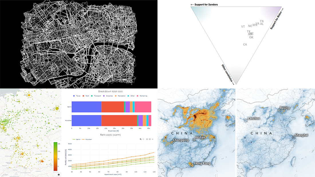 Fresh Visualization Projects on Super Tuesday, Cost of Living in Germany, London Cycling, and NO2 in China, in DataViz Weekly