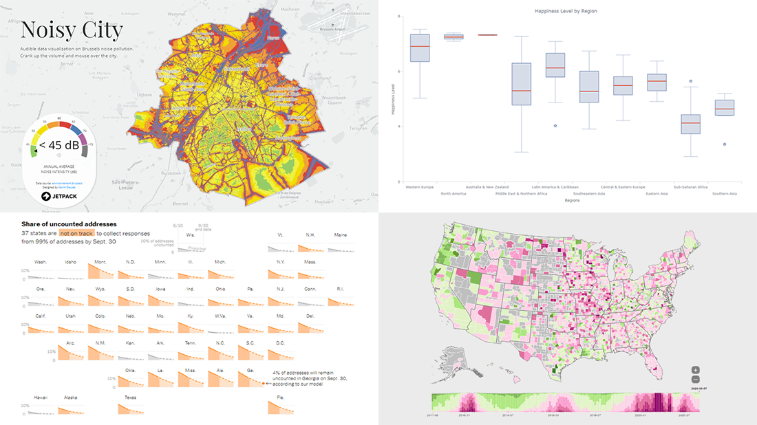 Visualizing Noise, Census, COVID-19, and Happiness Data | DataViz Weekly