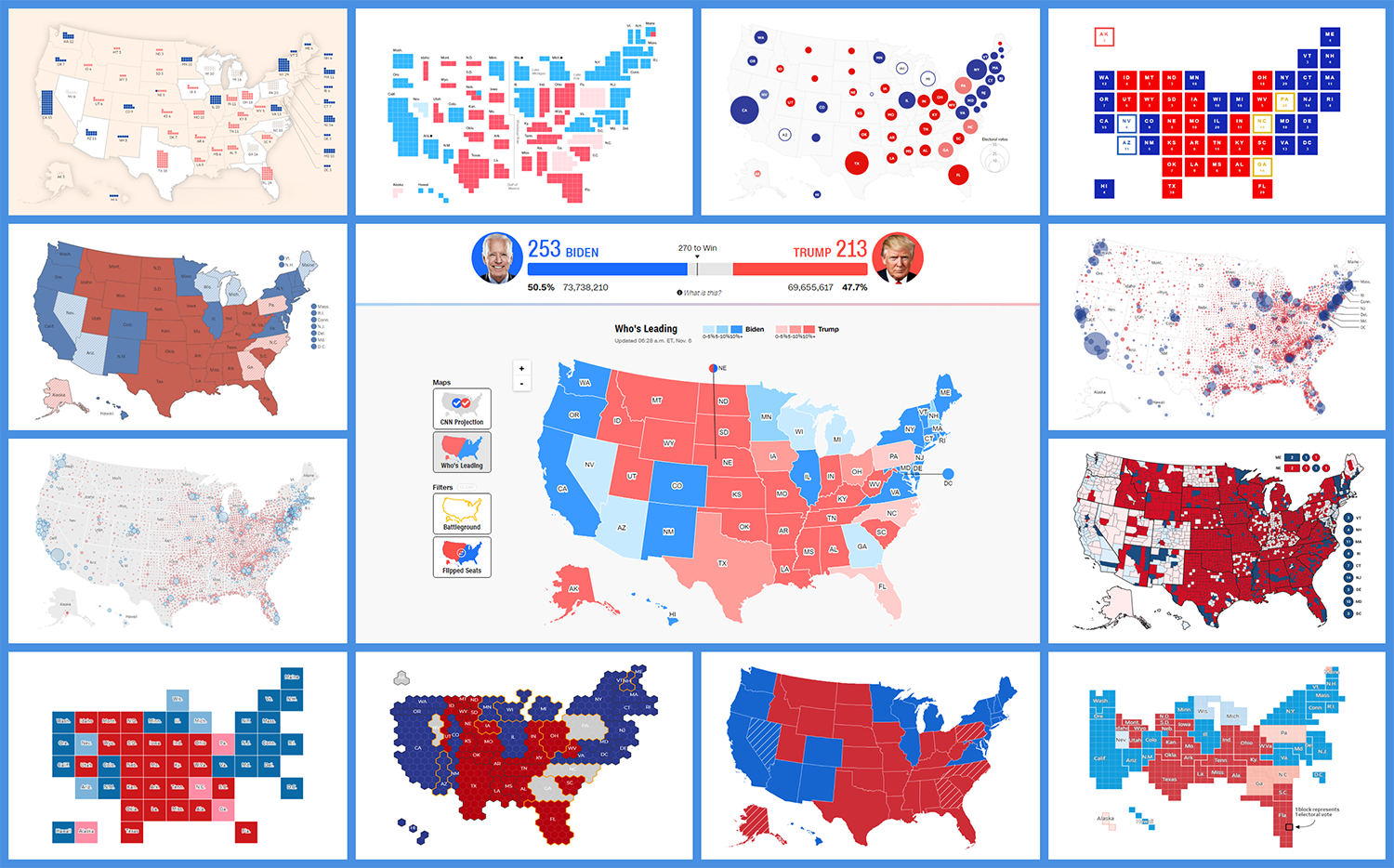 Top 24 Election Maps Visualizing 2020 U.S. Presidential Electoral College Results | DataViz Weekly Special Edition