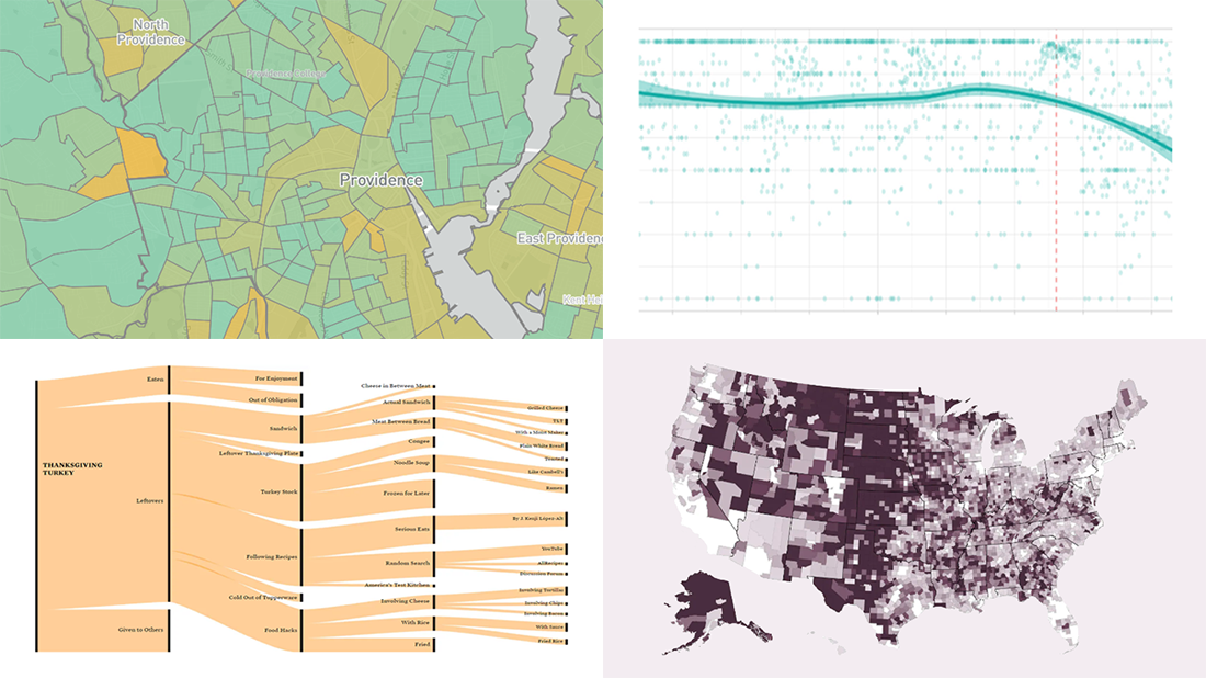 Fresh Great Data Visualization Projects on Thanksgiving, COVID, and Tree Equity, in DataViz Weekly