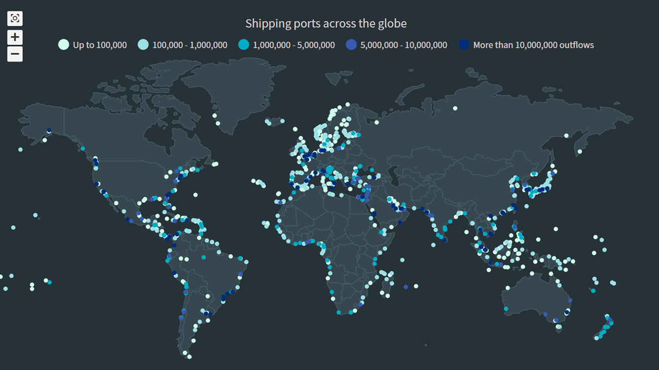 An interactive JavaScript Dot Density Map data visualization showing the distribution of shipping ports across the globe