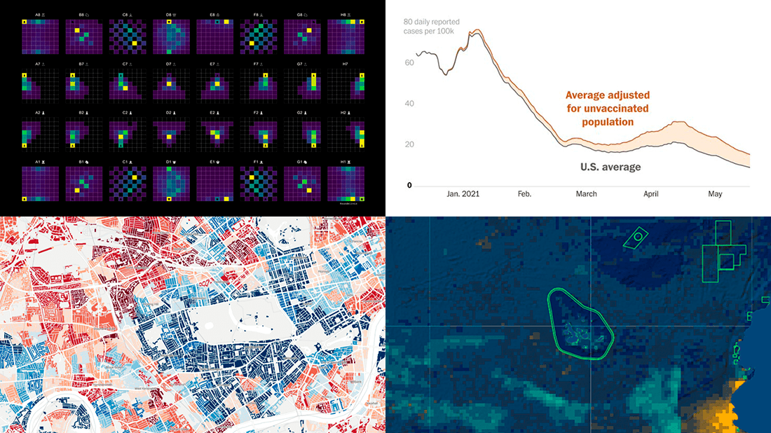 A DataViz Weekly roundup of new projects visualizing data on COVID, deprivation, chess, fishing