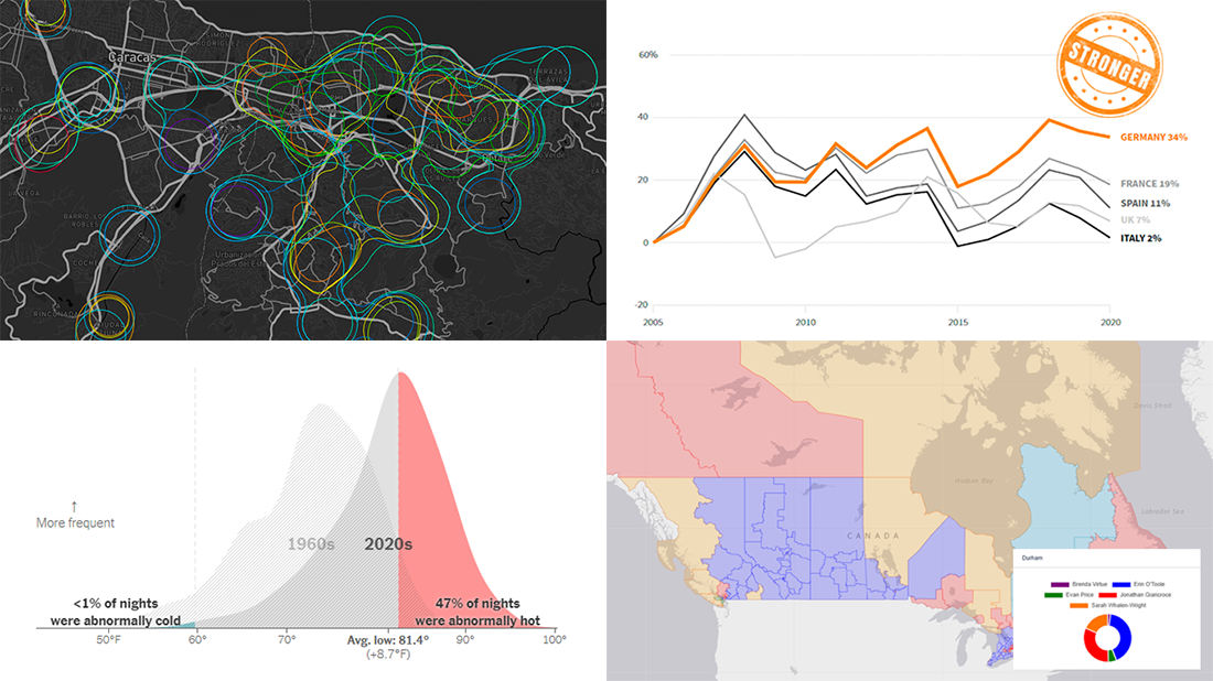 Canadian Elections, Germany Under Merkel, Caracas Sounds, Night Temperatures in U.S. Cities, in Weekly Curated Data Visualizations