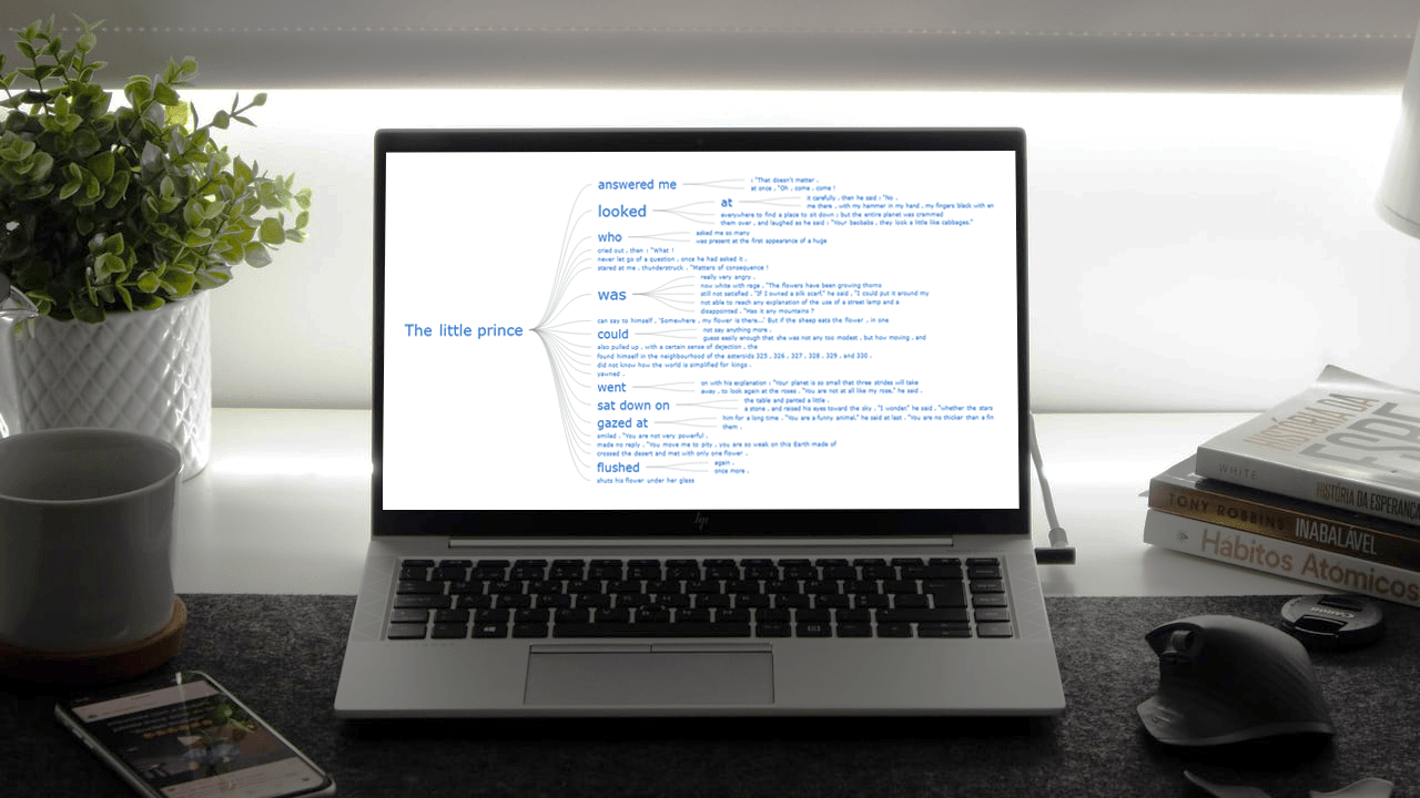 Word Tree Chart built with JavaScript HTML5 on a screen